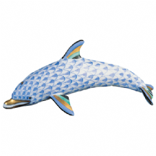 Herend Porcelain Fishnet Figurine of a Dolphin Mother